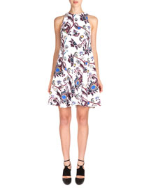 Sleeveless Scroll-Print Flare Dress