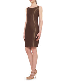 Metallic Woven Sheath Dress