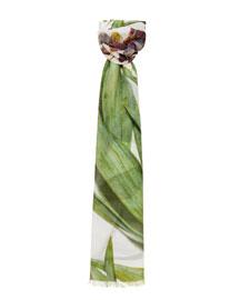 Cashmere-Blend Iris-Print Scarf