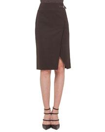 Double-Faced High-Waisted Slit Pencil Skirt