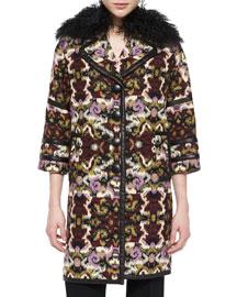 Fur-Collar Tapestry Caban Coat