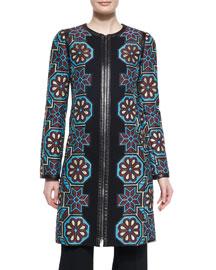 Floral Mosaic Jacquard Zip Coat