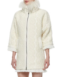 Textured Fur-Collar Zip Coat, Cream