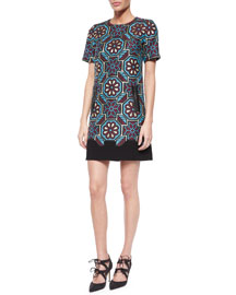 Floral Mosaic Short-Sleeve Shift Dress