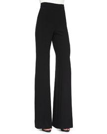 Wool High Waist Wide-Leg Pants, Black