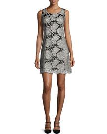 Sleeveless Lace Shift Dress, Black/White