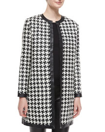 Adelle Woven Leather Houndstooth Coat