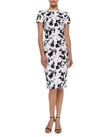 Short-Sleeve Printed Sheath Dress