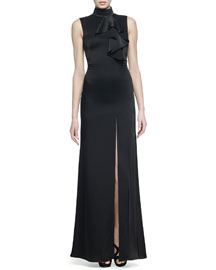 Draped Ruffle High-Slit Gown