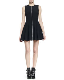 Zip-Front Fit-And-Flare Dress