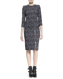 Tweed Zip-Skirt Sheath Dress