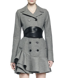 Side-Ruffle Double-Breasted Coat