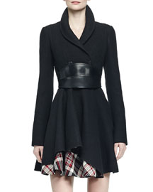 Asymmetric Fit-and-Flare Coat