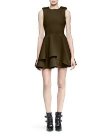 Scuba Fit-and-Flare Dress, Olive