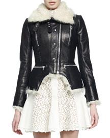 Shearling Fur-Lined Leather Cutaway Moto Jacket
