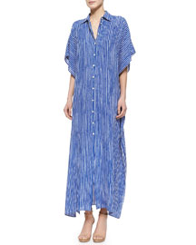 Striped Georgette Caftan Shirtdress