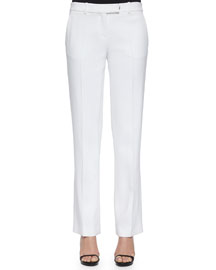 Stretch-Crepe Straight-Leg Pants, White