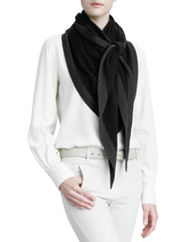 Scialle Twice Golden Knit Triangle Shawl, Black