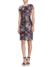 Front-Zip Ikat Jacquard Sheath Dress