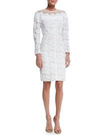 Long-Sleeve Lace Dress, White