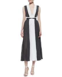 Mag Colorblock Pleated Cocktail Dress