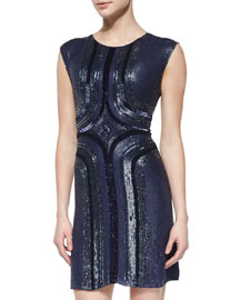 Beaded Sleeveless Cocktail Dress, Blue