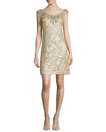 Beaded Silk Chiffon Cocktail Dress, Champagne