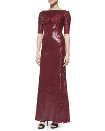 Allover Sequin & Bead Embellished Gown