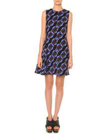 Geometric-Print Flared Dress