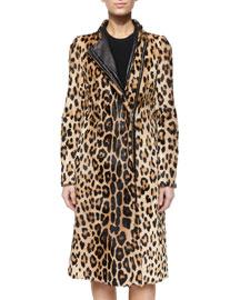 Sanderson Leopard-Print Goat Fur Zip Coat