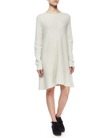 Chevron-Knit Swing Dress, Off White