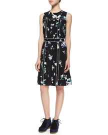 Floral-Print Georgette Sleeveless Dress