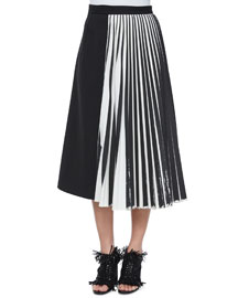 Half Knife-Pleated Midi Skirt