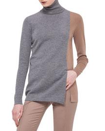 Colorblock Knit Turtleneck Sweater