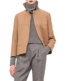 Boxy Wool-Blend Snap Jacket