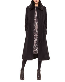 Wool-Blend Fur-Trimmed Long Coat