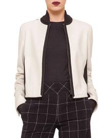 Two-Tone Zip-Front Blouson Jacket