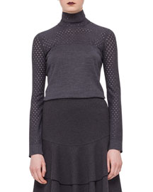 Perforated-Trim Turtleneck Sweater