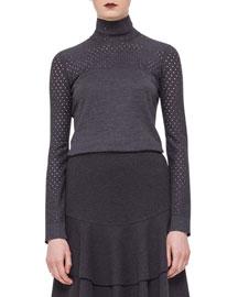 Perforated-Trim Turtleneck Sweater