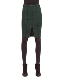 Zip-Front Checked Pencil Skirt