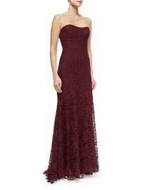 Strapless Lace Gown, Bordeaux