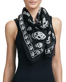 Skull-Print Silk Chiffon Scarf