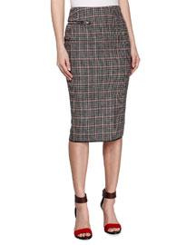 Plaid Check Tweed Pencil Skirt