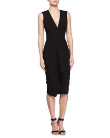 Deep V-Neck Asymmetric Ruffle Dress