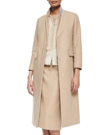 Half-Zip Contrast-Collar Long Coat