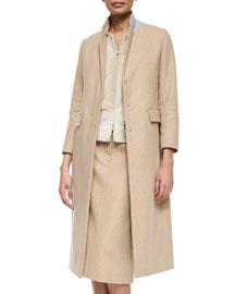Half-Zip Contrast-Collar Long Coat