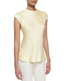 Cap-Sleeve High-Neck Blouse