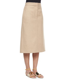Twill Melton Slit Midi Skirt