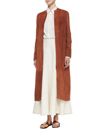 Collarless Suede Long Coat