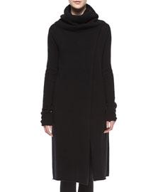 Turtleneck Slit-Front Long Sweater